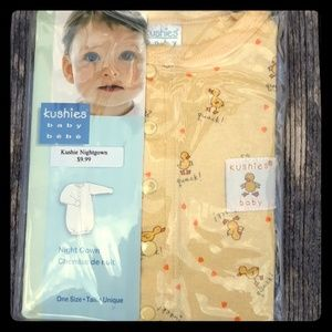New in Package Kushies Baby Night Gown Unisex 0-6m